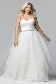 Watters Pleats Tiers Plus Size Wedding Dresses A-Line Sweetheart Neck Beads Sleeveless Zipper Back Sweep Train Tulle Bridal Gown 2014