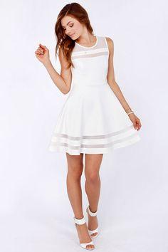 Final Stretch Ivory Dress. bridal shower dress idea