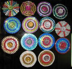 Dewali tea light holders Diyas made using defective CDs, CDs, Kundan stones Paste Kundan / stones or any leftover laces, rings, etc using glue start outlin Cd Crafts, Easy Crafts, Diy And Crafts, Crafts For Kids, Arts And Crafts, Diwali Diy, Diwali Craft, Candle Stand, Tealight Candle Holders