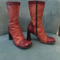 Vintage stitched leather boots made in Italy Pink and mauve chunky heel round toe mid calf boot Shoes Heeled Boots