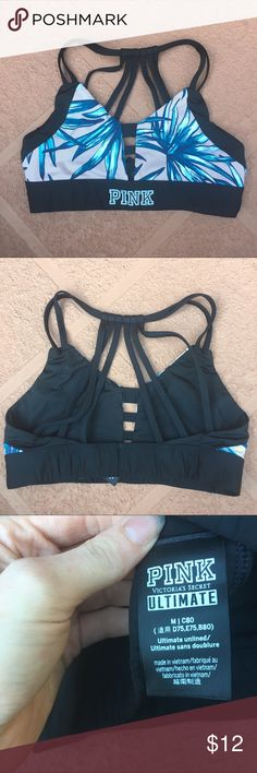 Like New Pink Sports Bra From the 2017 Summer collection, this sports bra is versatile and can be used as a swim top as well! Lightweight and super comfortable. Color is a pale pink and mint colored leaves. Has a cute back design! No damage or flaws, just worn around 5 times. Just have outgrown it somewhat! Size medium. PINK Victoria's Secret Intimates & Sleepwear Bras