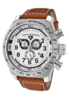 Click Image Above To Buy: Swiss Legend 22828-02-brw Men's Sl Pilot Chronograph White Dial Brown Leather Watch