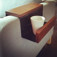 Alternative to end table or coffee table. Handmade with  walnut and powder coated aluminum