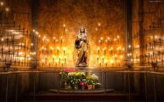 Kościół, Kaplica, Posąg, Matka, Boska, Bukiety, Kwiatów