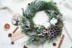 Your place to buy and sell all things handmade Rustic Christmas, Handmade Christmas, Christmas Gifts, Christmas Wreaths For Front Door, Xmas Wreaths, Cotton Decor, House Front Door, Xmas Decorations, Bird Feathers