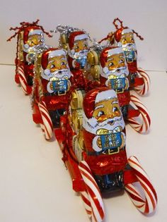 Best diy christmas gifts homemade for kids 13 Christmas Candy Crafts, Christmas Favors, Homemade Christmas Gifts, Christmas Projects, Kids Christmas, Holiday Crafts, Christmas Decorations, Cool Diy, Candy Cane Sleigh