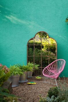 For a funky, vibrant outside space, pair a colourful Acapulco chair with bright, bold paints. Fab!                                                                                                                                                      More