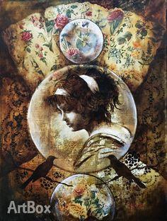 Girl in a Bubble - Mixed Media & Oil, Joy Heyneke - Size 600 x 450 mm