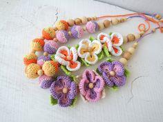 Crochet nursing necklace Flowers Breastfeeding от ColoredYarn