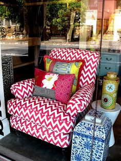 Pink chevron!  love this chair...