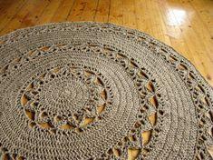 Round Jute Doily Crochet Rug 48. 100% naturals by HandmadeByzVyara