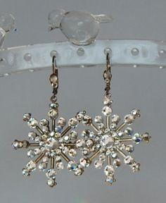 Snowflake Earrings with Swarovski Austrian Crystal flatback stones