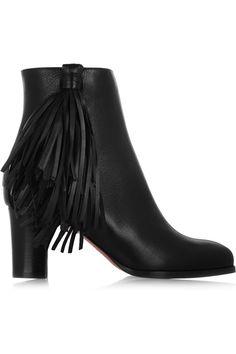 Christian Louboutin|Jimmynetta 70 fringed leather ankle boots|NET-A-PORTER.COM