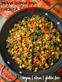 Indian Quinoa and Chickpea Stir Fry is an easy, healthy meal. Naturally vegan, clean eating and gluten free.