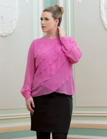 Shop navabi for beautiful Blouses & Shirts - navabi is the home for premium plus size fashion. Plus Size Blouses, Plus Size Tops, Plus Size Shopping, Layered Tops, Beautiful Blouses, Fashion Pants, Plus Size Fashion, Ruffle Blouse, Tunic Tops