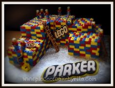This lego cake was fun but the tiling of the blocks took forever!