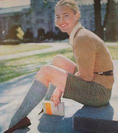 '50s Vassar style - bermudas, knee socks, penny loafers