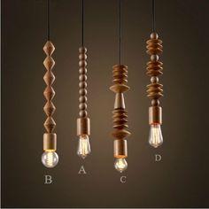loft vintage handgemaakte massief hout ketting hanger bar licht eiken houten delen koord hanglamp thuis decoratieve verlichting armatuur