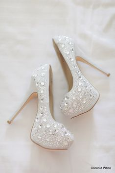 Coconut White Wedding Shoes\\ Photo Credit: Jessica Quadra Photography #whitewedding #weddingshoes #bling