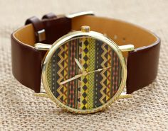 Leather Watch, Raised grain, Watch,Black leather bracelet