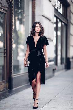 $80 Beautiful French Girl Style Chic Black Velvet Wrap Around Puff T-Shirt Short Sleeved Low Plunge V-Neck Tassel Belt Detail Midi Dress Silver Metallic Clutch Smart Chic Girl Style Tumblr