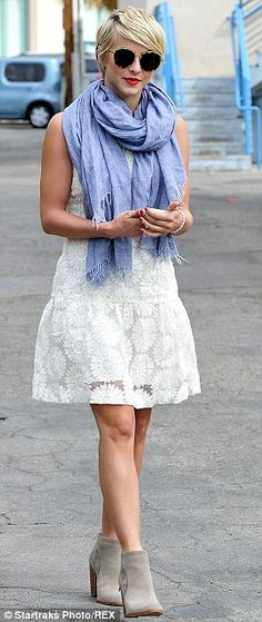 Mandatory Credit: Photo by Startraks Photo/REX (3710985f)  Julianne Hough  Julianne Hough out and about, Los Angeles, America - 23 Apr 2014  Julianne Hough, wearing a dress from Banana Republic, runs errands between dance rehearsals