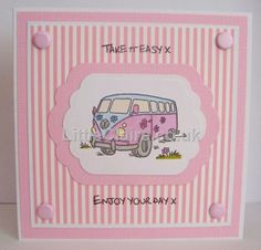 Dinkie VW Quick Cards, Diy Cards, Handmade Cards, Cardmaking, Card Stock, Card Ideas, Birthday Cards, Stamps, Projects To Try
