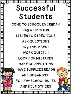 FREE SUCCESSFUL STUDENTS POSTER - THIS WOULD BE A GREAT POSTER OR AS A FIRST PAGE IN A BINDER TO HELP STUDENTS REMEMBER HOW TO BE A SUCCESSFUL STUDENT!