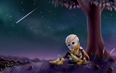 A practice of starry night. Dream is sitting under a small apple tree, this scene remains him of the old time when he is guarding the tree of feeli. Dream under an apple tree Undertale Fanart, Undertale Au, Dream Sans, Sans Cute, Shattered Dreams, Drama Games, Dreams And Nightmares, Magic Art, Apple Tree