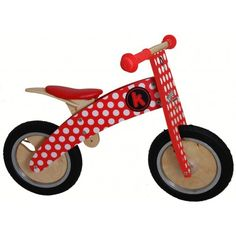 Kiddimoto Kurve Red and White Dotty Balance Bike from The Toy Centre UK