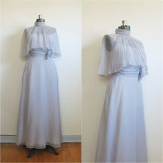 Vintage 1970s Misty Lake long dress with pleated cape top