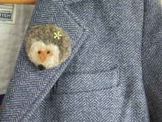 Needle felted brooch - hedgehog felted brooch - hedgehog - fibre pin - needle felted pin - animal brooch - clothing accessory - uk seller by itsaMessyNest on Etsy