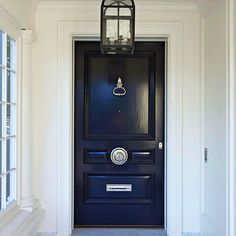 Black Front Door - Design photos, ideas and inspiration. Amazing gallery of interior design and decorating ideas of Black Front Door in home exteriors, entrances/foyers, porches by elite interior designers. Exterior Doors, Entry Doors, Entrance, Entryway, Black Exterior, Exterior Stairs, Front Entry, Exterior Paint, Front Porch