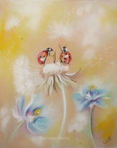 RARE 2 ladybugs on dandelion by Annet Loginova Russian modern postcard Snail Cartoon, Soft Pastel Art, Decoupage, Comic, Art Journal Inspiration, Whimsical Art, Art Pictures, Cute Art, Illustrators