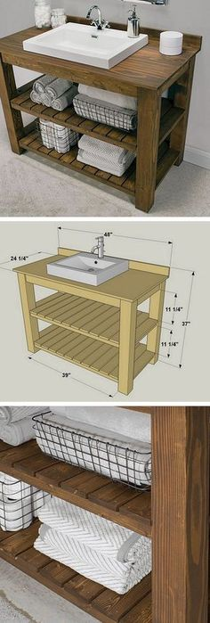 A DIY bathroom vanity is a great way to revamp your bathroom rather easily. After all, the vanity is most likely the focal point of your entire bathroom decor. Here are 24 easy DIY bathroom vanity plans with tutorials. Diy Bathroom Vanity, Rustic Bathroom Vanities, Diy Vanity, Vanity Ideas, Modern Bathroom, Rustic Vanity, Bathroom Remodeling, Wood Vanity, Furniture Vanity