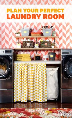 Learn tips for space planning, organizing, and more in our Ultimate Laundry Room Planning Guide sponsored by LG: http://www.bhg.com/rooms/laundry-room/makeovers/laundry-room-planning-guide/