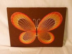 Vintage Mid Century String Art Butterfly 60's 70's Mod Wall Hanging