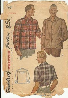 40s 1940s Shirt Simplicity Vintage Sewing Pattern 1961 Man's Shirt Size Medium 38-40 Double Yoke WW2