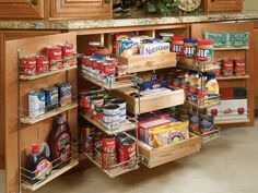 Pullout pantry shelving options allow easier access to items stored on the backs of shelves.