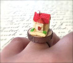 Miniature House Ring. Wood Ring. Cute Kawaii by MintMarbles