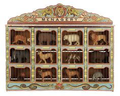 "German Wooden Toy ""Menagery"" with Original Flocked Animals"