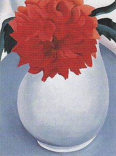 White Pitcher Red Flower 1920 By Georgia O'Keeffe Georgia O'keefe Art, Georgia O Keeffe Paintings, Georgia Okeefe, Art Students League, New York Art, Oil Painting Reproductions, Art Institute Of Chicago, Community Art, American Artists
