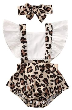 Baby Girl White Ruffled Leopard Romper Beautiful romper for y.-- Baby Girl White Ruffled Leopard Romper Beautiful romper for your baby girl White ruffled sleeves + Stylish leopard print Matching headband includes Snaps on bottom for easy changing Ruffle Romper, Baby Girl Romper, Baby Girl Newborn, Baby Bodysuit, Baby Baby, Newborn Girl Outfits, Baby Girl Headbands, Floral Romper, Baby Girl Fashion