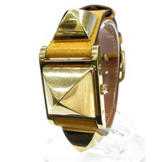 G-rare-Authentic-Hermes-Wrist-Watch-Medor-Quartz-Yellow-Gold-Tone-Swiss-1437614