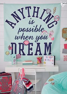 Make a statement with wall tapestries that add an eye-catching message to her room.
