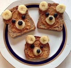 Cute peanut butter and banana bear sandwhich