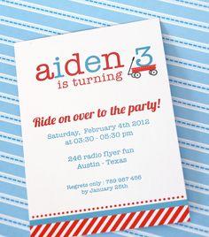DIY PRINTABLE Birthday Party - Invitation Card - Radio Flyer Red Wagon - PS817a