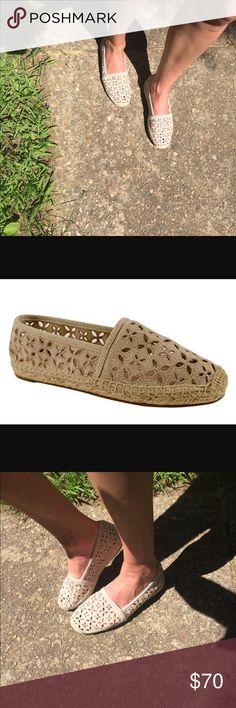 Michael Kors darci Crochet slip on shoes size 8 These are the cutest shoes! They march with just about anything, only worn a few times, signs of wear shown in photos. Last pair in the store on display hence the writing on the bottom. Off white light taupe color. Michael Kors Shoes Flats & Loafers
