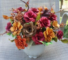 Paper Flower Arrangement in Fall Colors in by SweetPeaPaperFlowers, $55.00