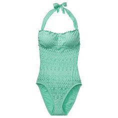 Mossimo® Women's Crochet Mix and Match 1-Piece Swimsuit -Isle Green - I'd like a one piece for our cruise...hmmm